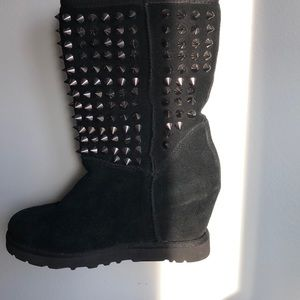 Ash Studded wedge mid-calf boots